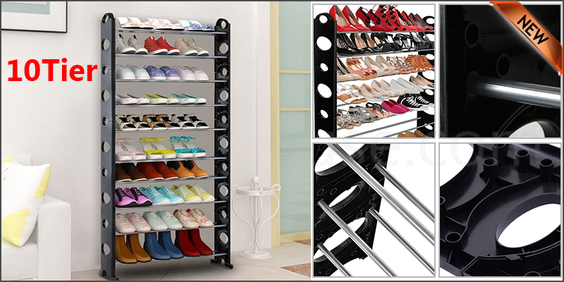 10 Tier Shoe Storage Shelf Rack Organizer Shelf Stand Black Free Standing Holds 30 Pairs