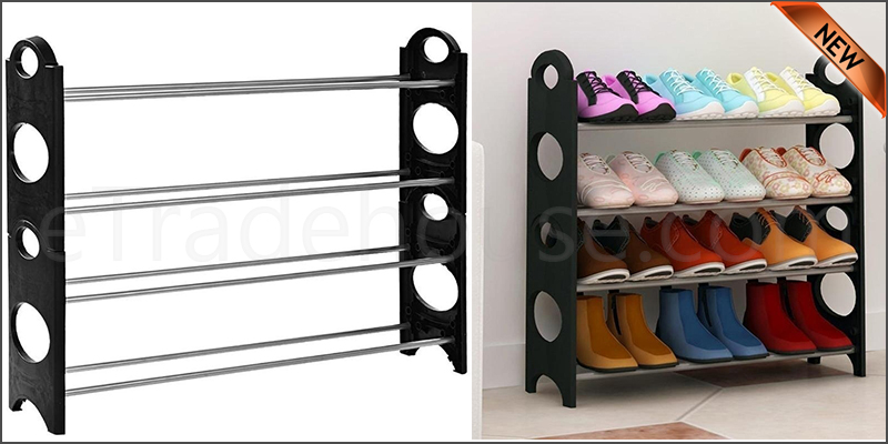 4 Tier Shoe Storage Shelf Rack Organizer Shelf Stand Black Free Standing Holds 12 Pairs