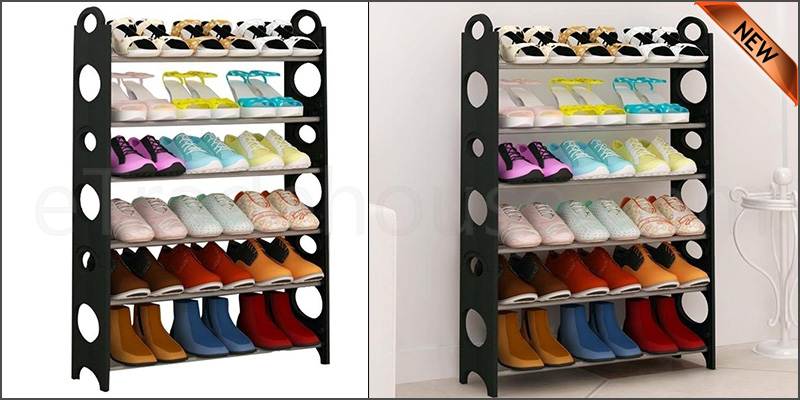 6 Tier Shoe Storage Shelf Rack Organizer Shelf Stand Black Free Standing Holds 18 Pairs