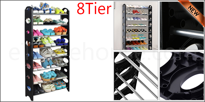 8 Tier Shoe Storage Shelf Rack Organizer Shelf Stand Black Free Standing Holds 24 Pairs