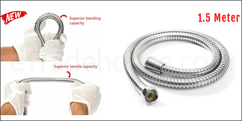 1.5 Meter Stainless Steel Chrome Flexible Bathroom Bath Shower Head Hose Pipe Washers