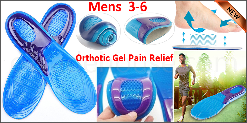 Feet Support Orthotic Gel Pain Relief Massaging Sport Shoe Insoles Mens  3-6