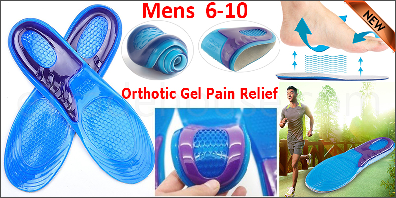 Feet Support Orthotic Gel Pain Relief Massaging Sport Shoe Insoles Mens 6- 10