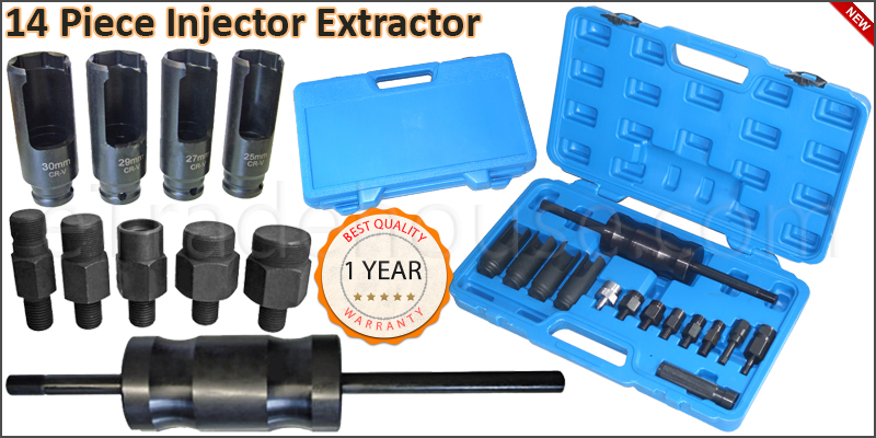 14 Piece Injector Extractor With Common Rail Adapt