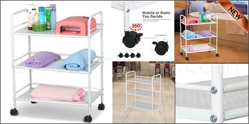 3 Shelf Large Salon Beauty Trolley Cart Spa Storage Dentist Wax Treatments Home