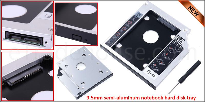SATA 9.5mm Hard Disk Drive HDD to SATA Bay Caddy Adapter Tray for Laptop