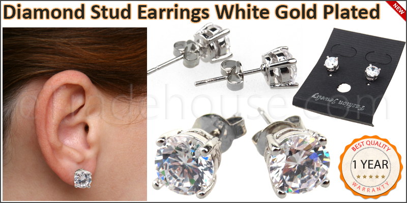Diamond Stud Earrings White Gold Plated Men's Boy'