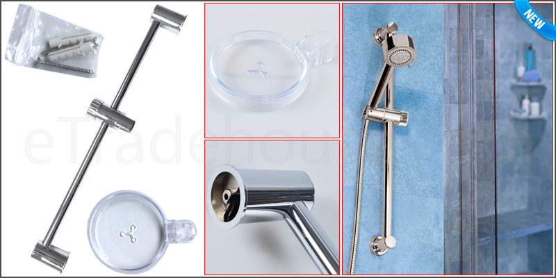 Polished Chrome Shower Head Rail Riser Slide Adjus