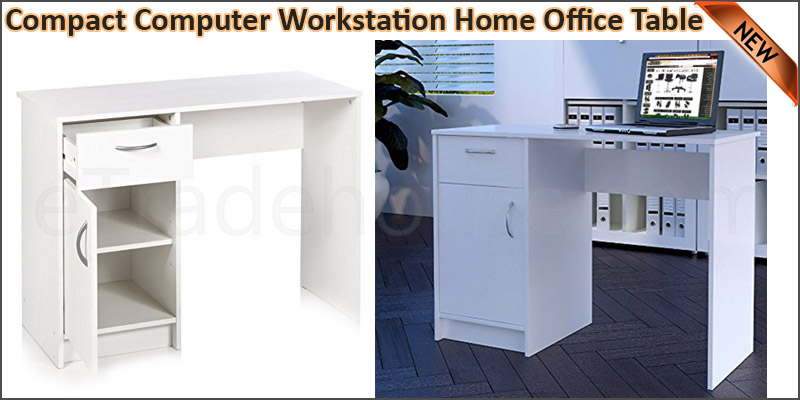White Desk 1 Drawer 1 Door Compact Computer Workst