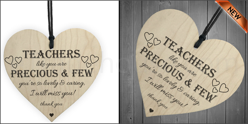 Teachers Are Precious Wooden Hanging Heart Shabby Chic Thank You Plaque Gift