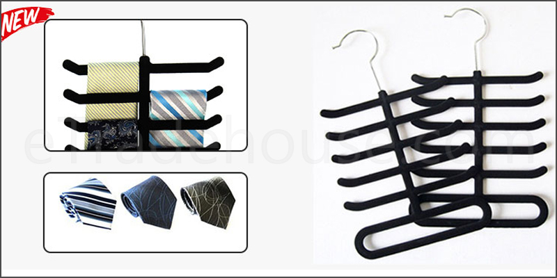 Black Flocked Non Slip Accessory Tie Rack Belt Scarves Organizer Hanger