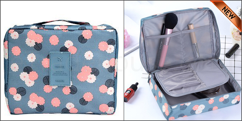Multi-function Travel Storage Bag Water-proof Oxford fabric Floral Print Cosmetic Bag - Blue