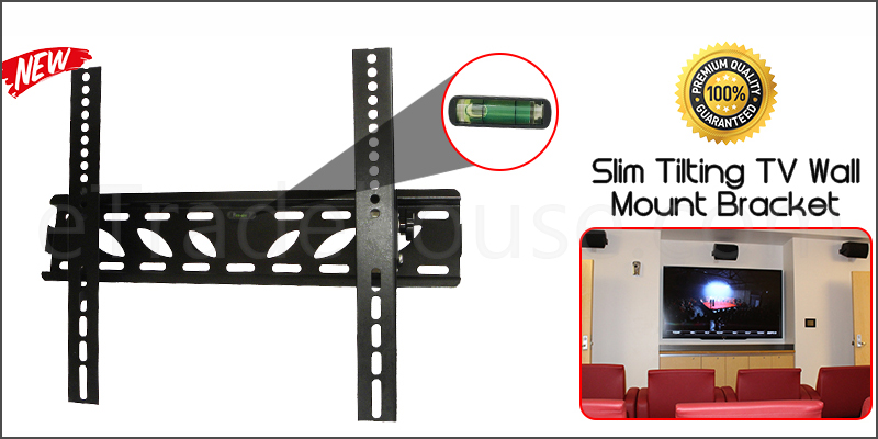39 to 55 Inches Slim Tilt Spirit Level TV Wall Bracket Mount for TV LED LCD Plasma