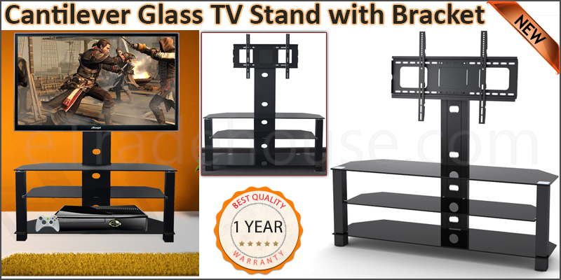Cantilever Glass TV Stand with Swivel Bracket for