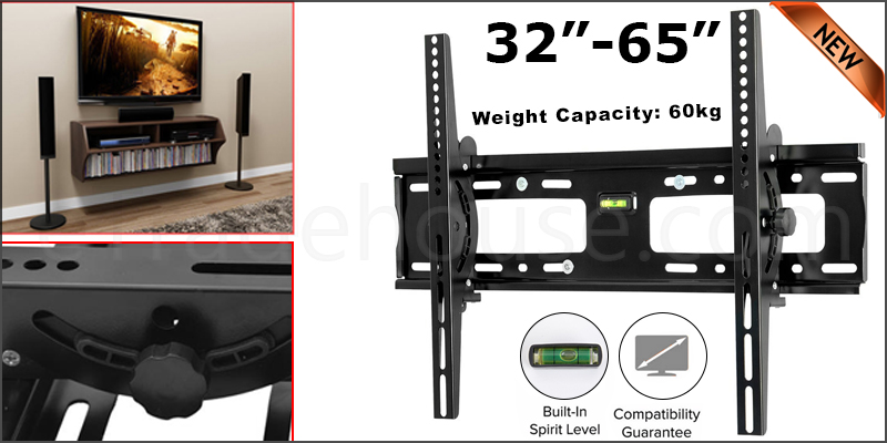 TV Bracket 32-65 Inches Tilt TV Wall Mount Bracket with Built-In Tri Spirit Level