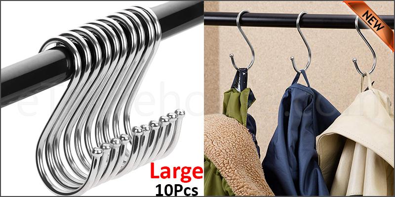 10 Stainless Steel Metal S Hooks Kitchen Utensil Hanger Cloths Hanging Rail Large size