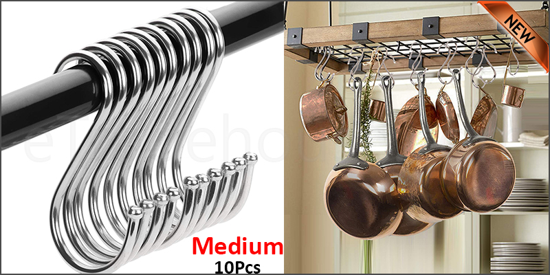 10 Stainless Steel Metal S Hooks Kitchen Utensil Hanger Cloths Hanging Rail Medium size