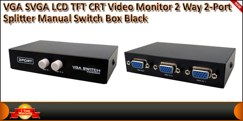 VGA SVGA LCD TFT CRT Video Monitor 2 Way 2 Port Ma