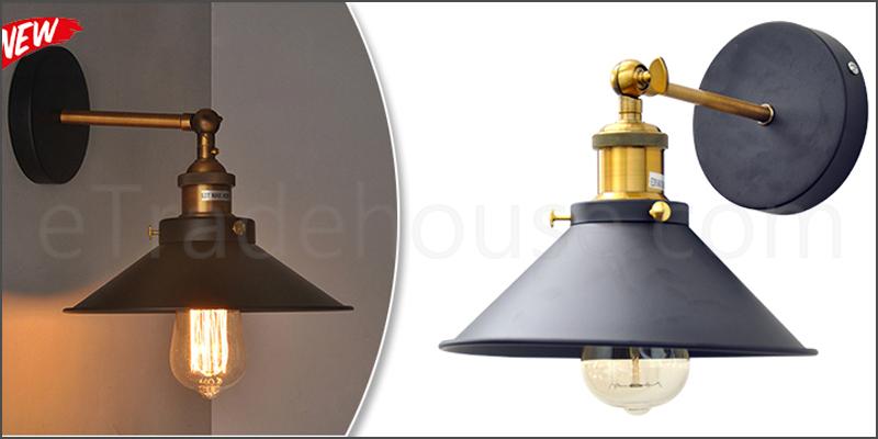 Vintage Industrial Antique Brass Black Scone Wall Light Lamp Shade