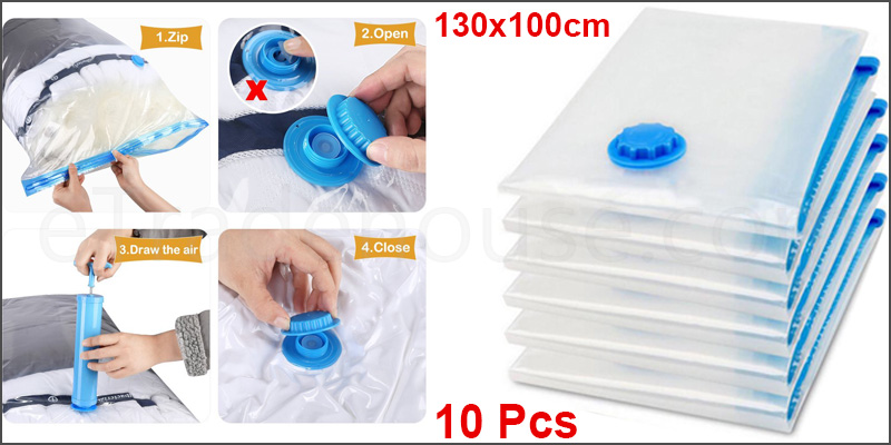 130x100cm Space Saving Storage Vacuum Bags Clothes Bedding Organizer under Bed 10Pcs