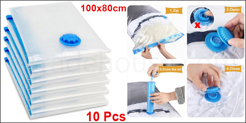 100x80cm Space Saving Storage Vacuum Bags Clothes Bedding Organizer under Bed 10Pcs