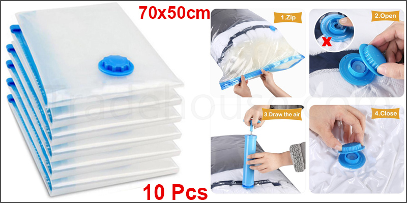 70x50cm Space Saving Storage Vacuum Bags Clothes Bedding Organizer under Bed 10Pcs
