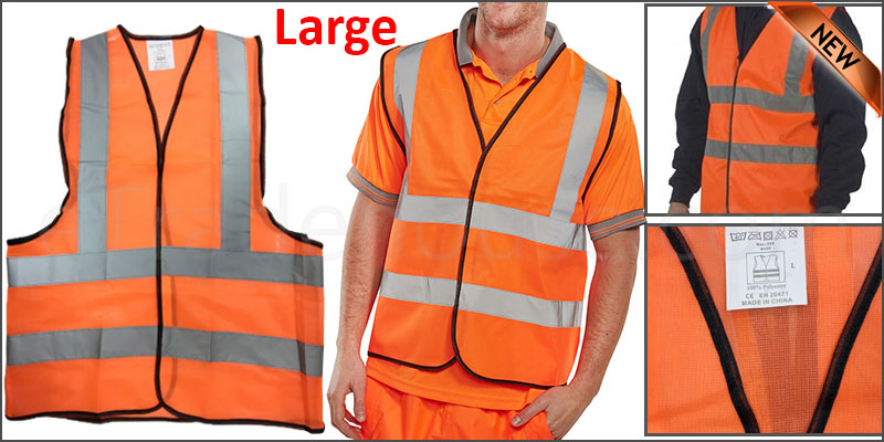 Large Orange High Viz Visibility Reflective Strips Vest EN471 Waistcoat Safety