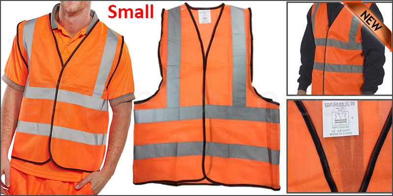 Small Orange High Viz Visibility Reflective Strips Vest EN471 Waistcoat Safety