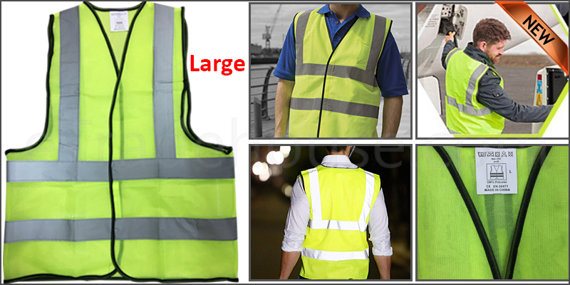 Large Yellow High Viz Visibility Reflective Strips Vest EN471 Waistcoat Safety