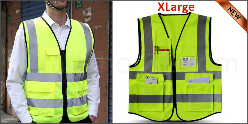 Yellow Hi Vis High Viz Visibility Vest Waistcoat Safety with Pockets