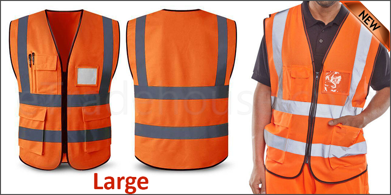 Orange Hi Vis High Viz Visibility Vest  Waistcoat Safety with pockets  -Large 60X68