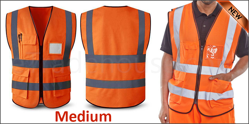 Orange Hi Vis High Viz Visibility Vest  Waistcoat Safety with pockets Medium