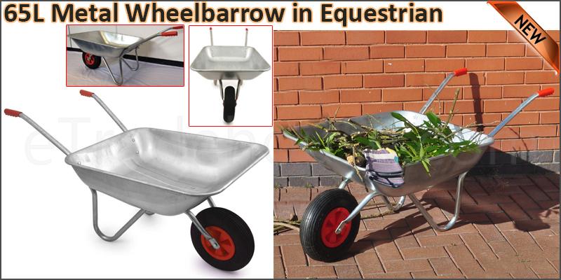 """100kg 65 L Metal Galvanised Wheelbarrows with 12"""""""