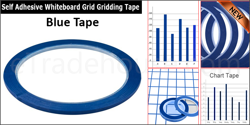 BLUE 3mm Self Adhesive Whiteboard Grid Gridding Marking Tape Non Magnetic Fine