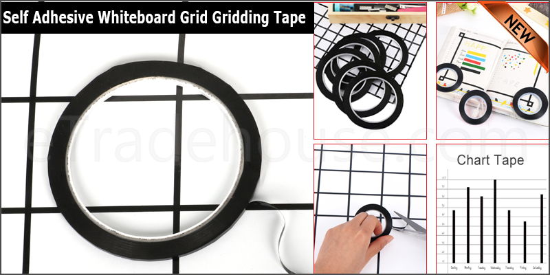 Black 3mm Self Adhesive Whiteboard Grid Gridding Marking Tape Non Magnetic Fine