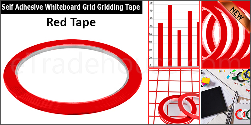Red 500  3mm Self Adhesive Whiteboard Grid Gridding Marking Tape Non Magnetic Fine