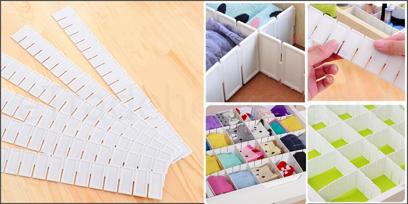 6pc Adjustable Clapboard Drawer Divider Partition Storage Organiser Wardrobe