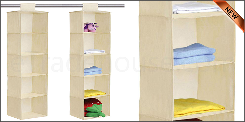 5 Tier Hanging Wardrobe Storage Shelf Foldable Collapsible Shoe Garment Clothes Organizer