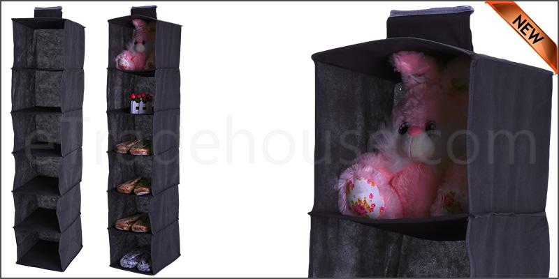 6 Tier Hanging Wardrobe Storage Shelf Foldable Collapsible Shoe Garment Clothes Organizer