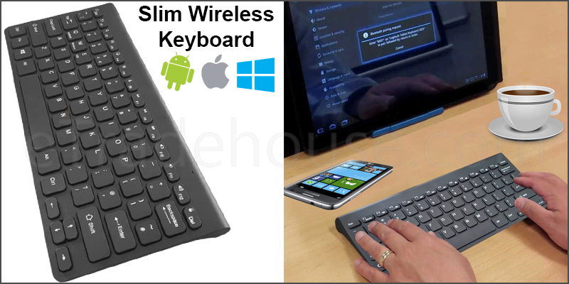 Slim Wireless Bluetooth 78 Key Compact Thin Keyboard for iMac iPad Android Phone Tablet PC Black