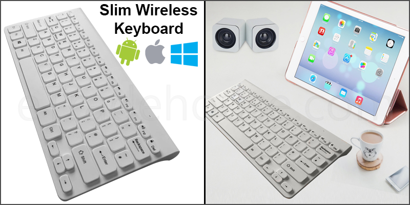 Slim Wireless Bluetooth 78 Key Compact Thin Keyboard for iMac iPad Android Phone Tablet PC White