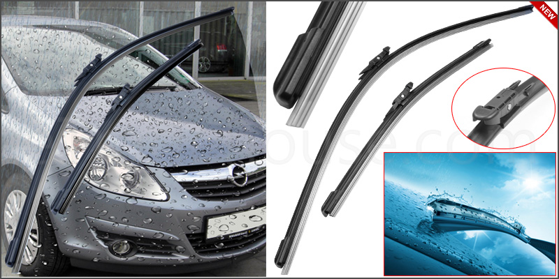 "Vauxhall Corsa D 2006-14 Front Windscreen 26"" 16"" Flat Aero Wiper Blades Set"