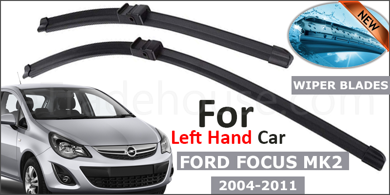 """FORD FOCUS MK2 2004-11 Front Windscreen 26"""" 17"""" Aero Wiper Blades Set (For Left Handed Drive)"""