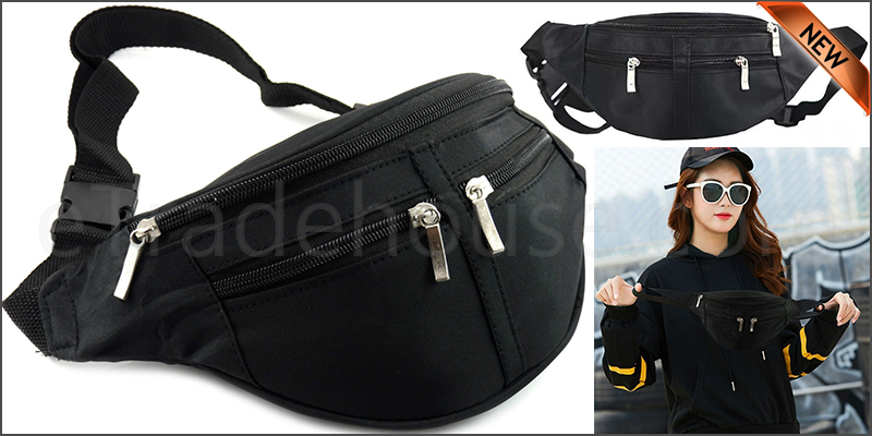 Black microfibre waist bag 4 zipped pockets