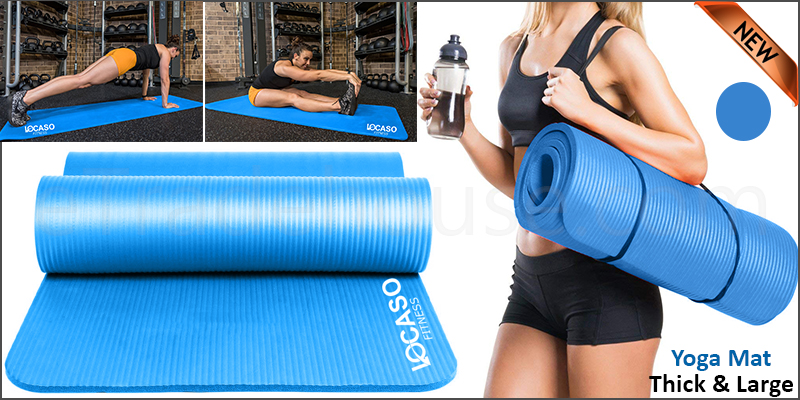 Large Thick Yoga Mat for Pilates Gymnastics Exercise with Carrier Strap
