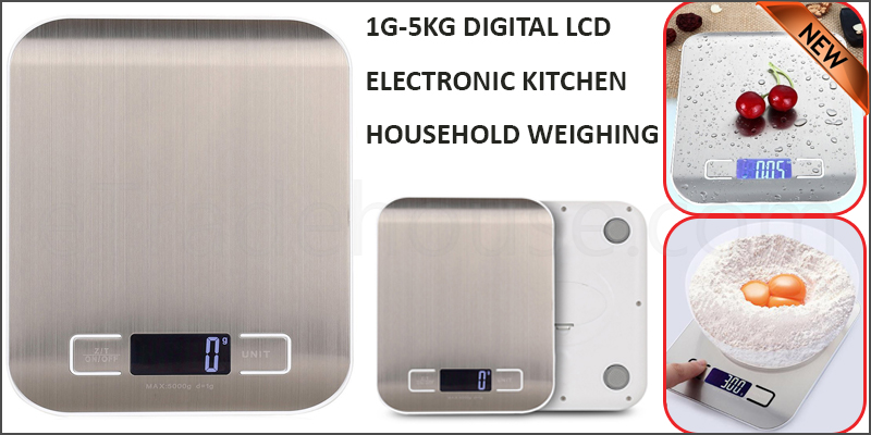 1G-5KG Digital LCD Electronic Kitchen Household Weighing Food Cooking Scale Stainless Steel Panel