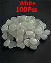 100pc Glow In The Dark Pebble Stones Luminous Garden Walkway Flower Bed Shiny WHITE
