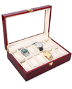 12 Grid Slot Watch Box Transparent Glass Display Organizer Watch Jewelry Wooden Storage Box