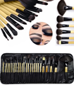 Professional 24 Pieces Makeup Wooden Brushes Set with Black Case