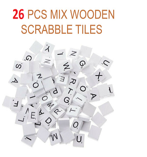 26 WOODEN SCRABBLE TILES BLACK LETTERS NUMBERS